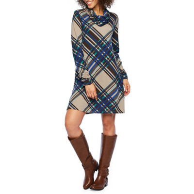 R & K Originals Long Sleeve Plaid Shift Dress with Removable Scarf