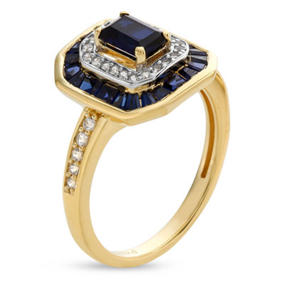 Womens Lab Created Blue Sapphire 14K Gold Over Silver Sterling Silver Cocktail Ring