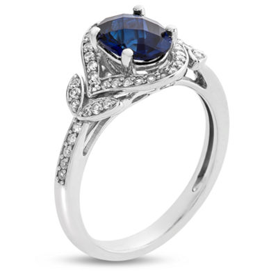 Womens Lab Created Blue Sapphire Sterling Silver Cocktail Ring