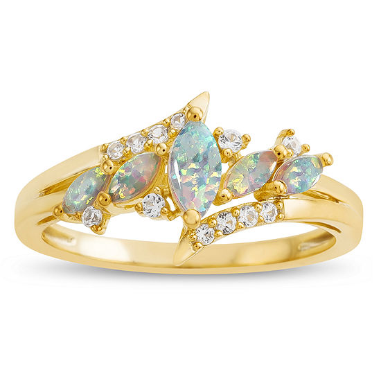Womens Lab Created White Opal 14K Gold Over Silver Cocktail Ring