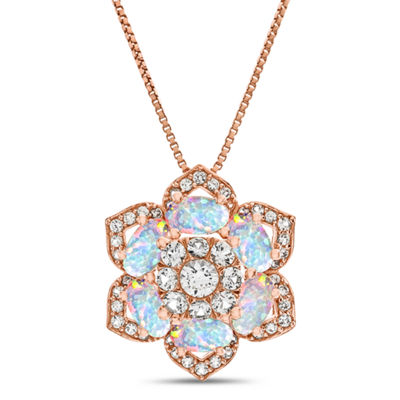 Womens Lab Created White Opal 14K Rose Gold Over Silver Pendant Necklace