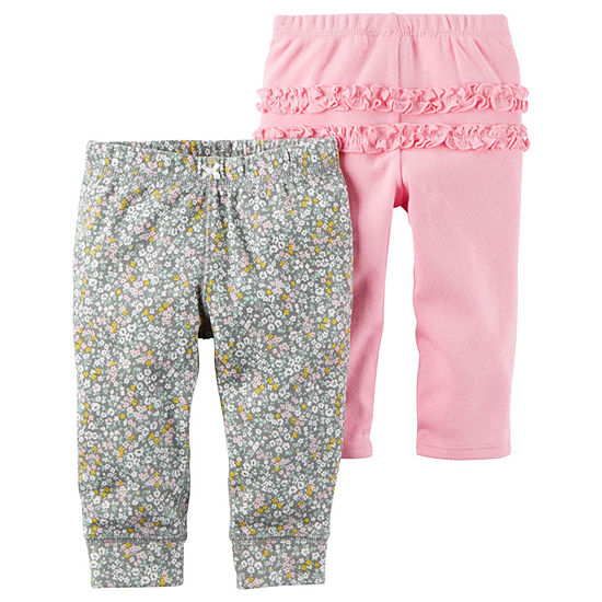 Carter's 2-pc. Girls Straight Pull-On Pants - Baby