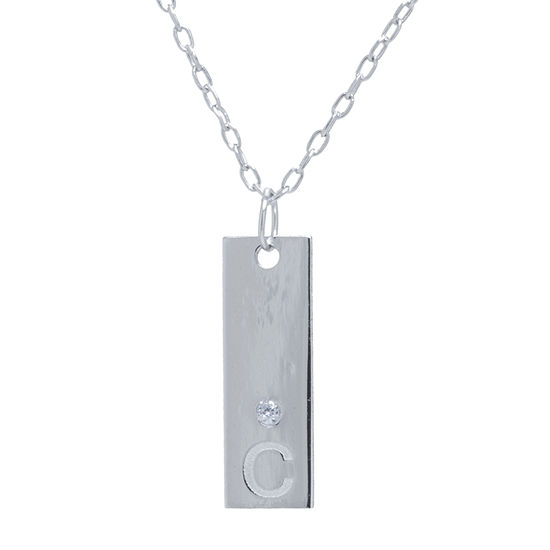 Silver Treasures Sterling Silver 16 Inch Cubic Zirconia Cable Pendant Necklace