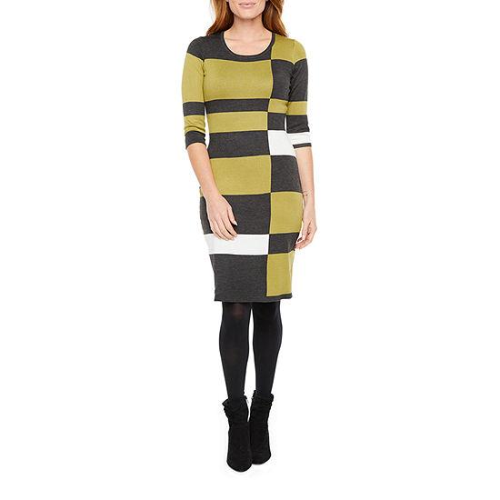 Danny & Nicole 3/4 Sleeve Colorblock Sweater Dress-Petite
