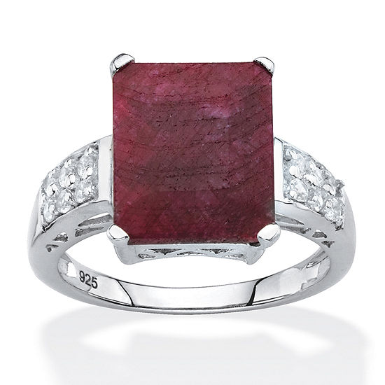 Womens Lead Glass-Filled Red Ruby Sterling Silver Cocktail Ring