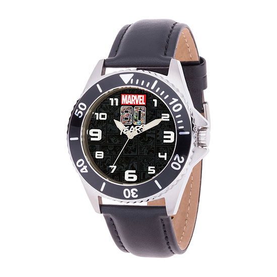 Marvel Spiderman Mens Black Leather Strap Watch-Wma000350
