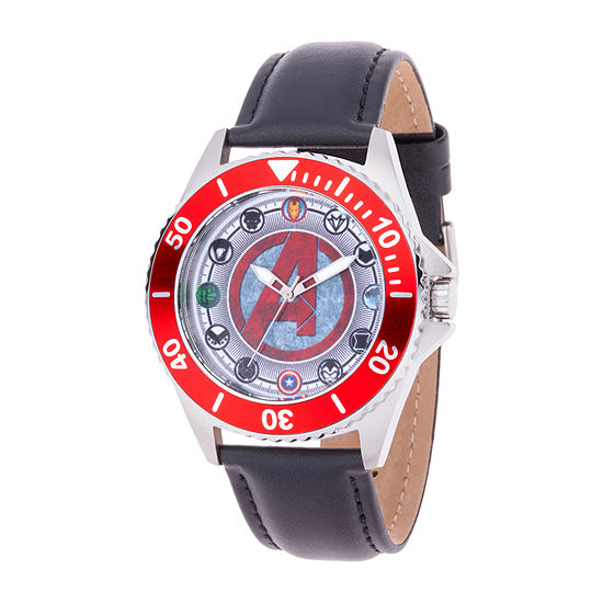 Marvel Avengers Mens Black Leather Strap Watch-Wma000353