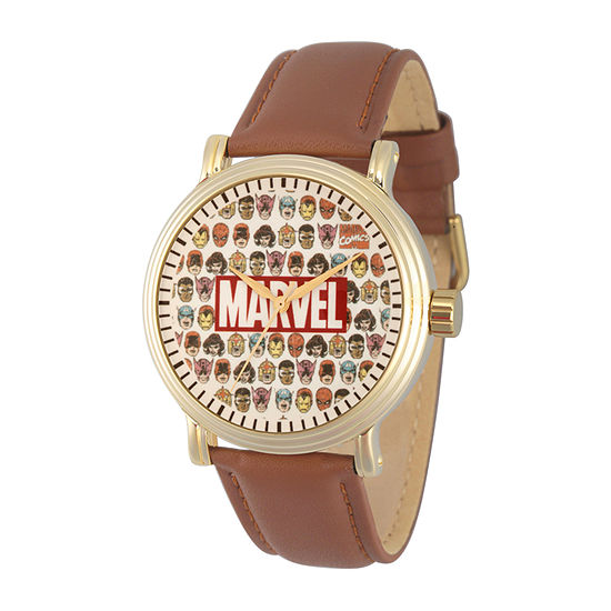 Marvel Captain America Mens Brown Leather Strap Watch-Wma000355