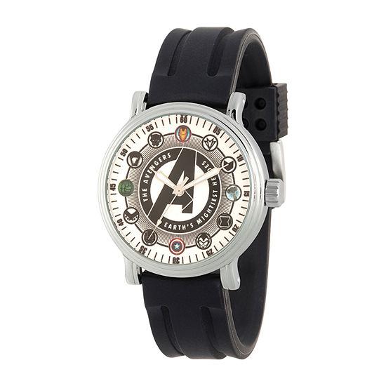 Marvel Avengers Mens Black Strap Watch-Wma000354