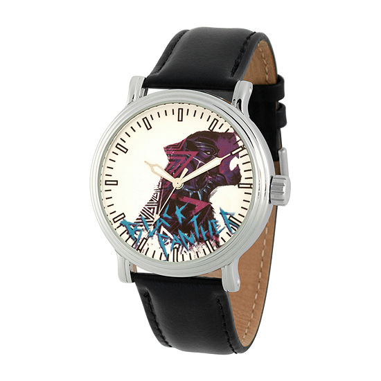 Marvel Black Panther Mens Black Leather Strap Watch-Wma000357