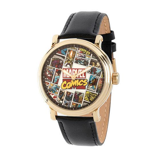 Marvel Spiderman Mens Black Leather Strap Watch-Wma000358