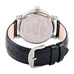 Marvel Spiderman Mens Black Leather Strap Watch-Wma000360