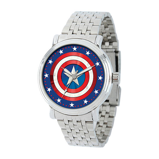 Captain America Mens Silver Tone Stainless Steel Bracelet Watch-Wma000361