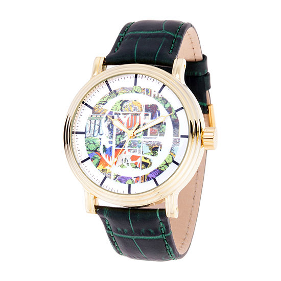 Marvel Captain America Mens Green Leather Strap Watch-Wma000364