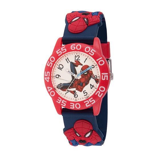 Marvel Spiderman Boys Blue Strap Watch-Wma000372
