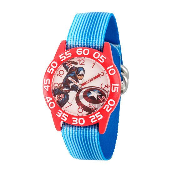 Marvel Captain America Boys Blue Strap Watch-Wma000373