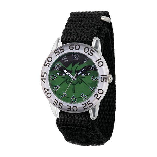 Marvel Hulk Boys Black Strap Watch-Wma000376