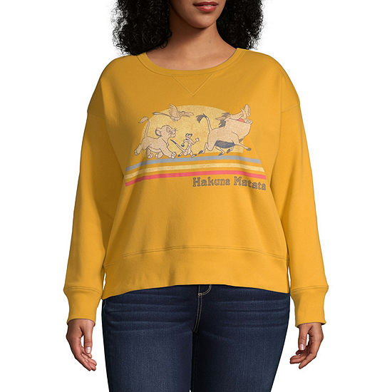 Juniors Plus Womens Crew Neck Long Sleeve The Lion King Sweatshirt