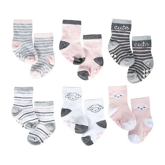 Just Born 6 Pair Crew Socks Girls Baby