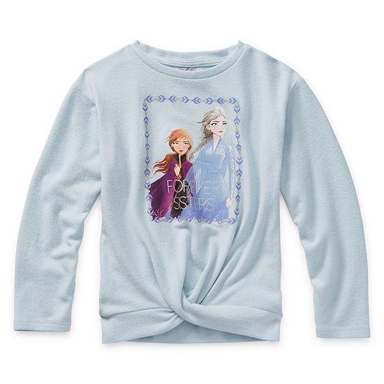 Disney Little & Big Girls Crew Neck Long Sleeve Frozen Sweatshirt