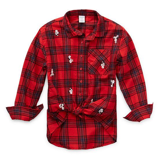 Arizona Little Kid / Big Kid Girls Long Sleeve Button-Front Shirt