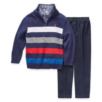 IZOD Boys 3-pc. Striped Pant Set Preschool / Big Kid