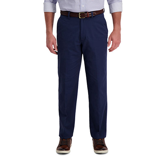 Haggar Motion Khaki Classic Fit Flat Front Pant Mens