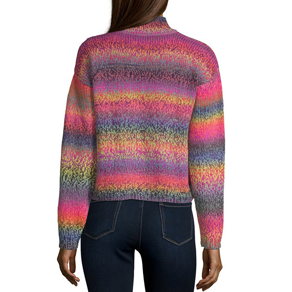 Arizona-Juniors Womens Mock Neck Long Sleeve Striped Pullover Sweater