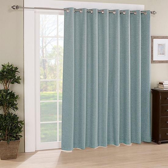 Eclipse Newport Jacquard Blackout Grommet-Top Single Patio Door Curtain