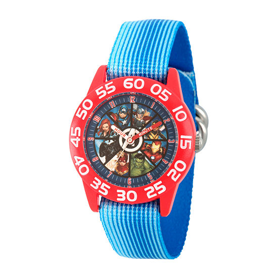 Marvel Captain America Boys Blue Strap Watch-Wma000381
