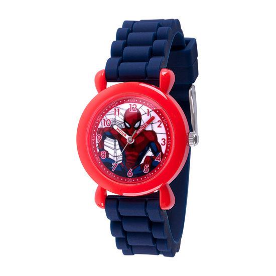 Marvel Spiderman Boys Blue Strap Watch-Wma000383