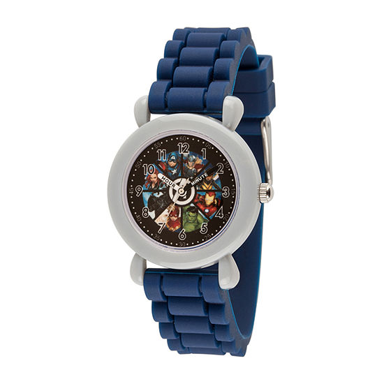 Marvel Captain America Boys Blue Strap Watch-Wma000388