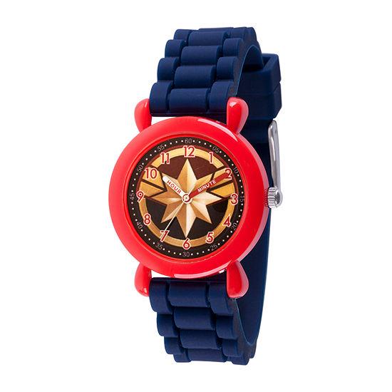 Marvel Captain Marvel Boys Blue Strap Watch-Wma000393