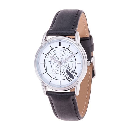 Marvel Spiderman Mens Black Leather Strap Watch-Wma000400