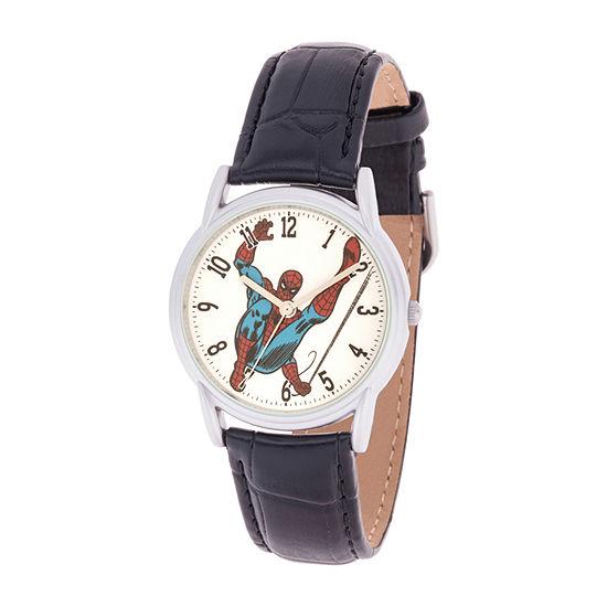 Marvel Spiderman Mens Black Leather Strap Watch-Wma000401