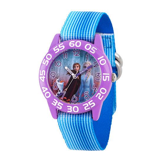 Disney Frozen Girls Blue Strap Watch-Wds000777