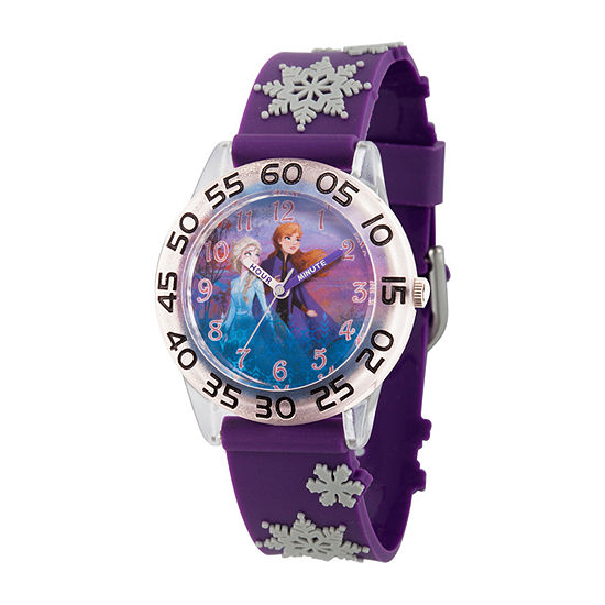 Disney Frozen Girls Purple Strap Watch-Wds000778