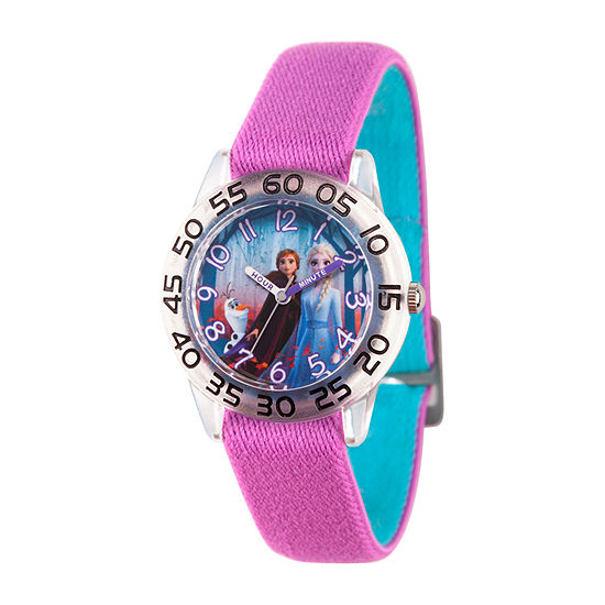 Disney Frozen Girls Purple Strap Watch-Wds000784