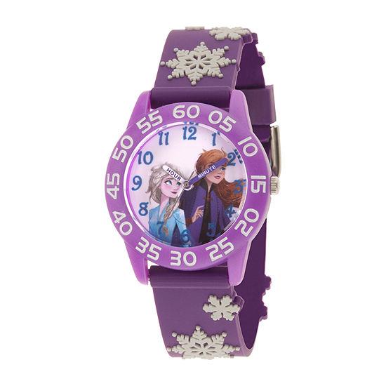 Disney Frozen Girls Purple Strap Watch-Wds000785