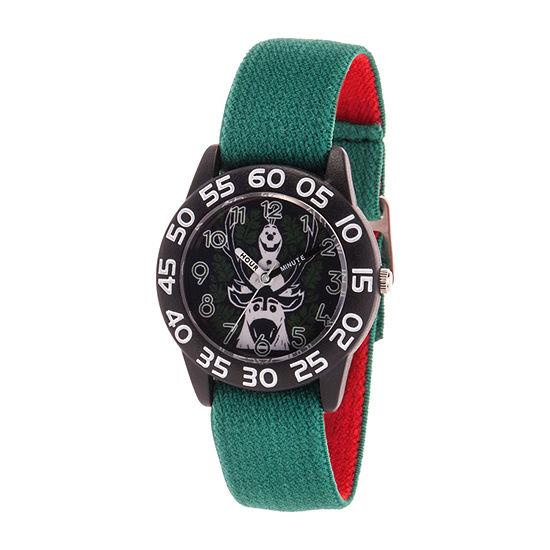 Disney Olaf Boys Green Strap Watch-Wds000786