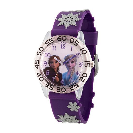 Disney Frozen Girls Purple Strap Watch-Wds000793