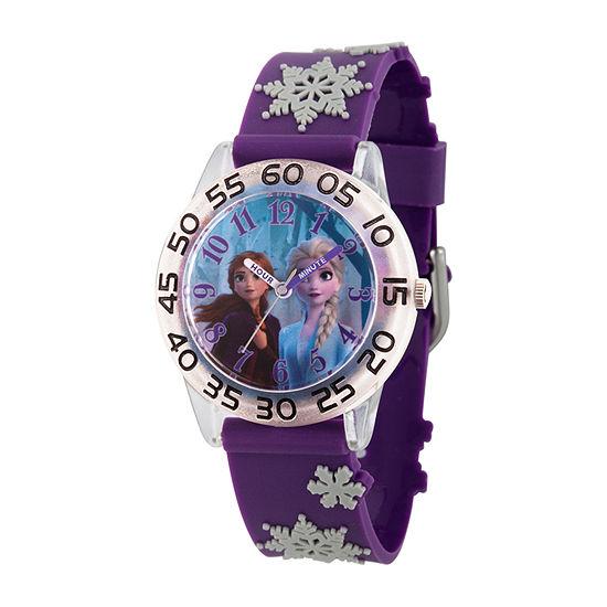 Disney Frozen Girls Purple Strap Watch-Wds000794
