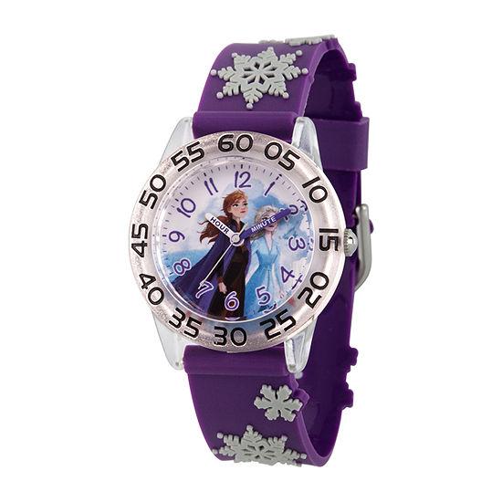 Disney Frozen Girls Purple Strap Watch-Wds000795