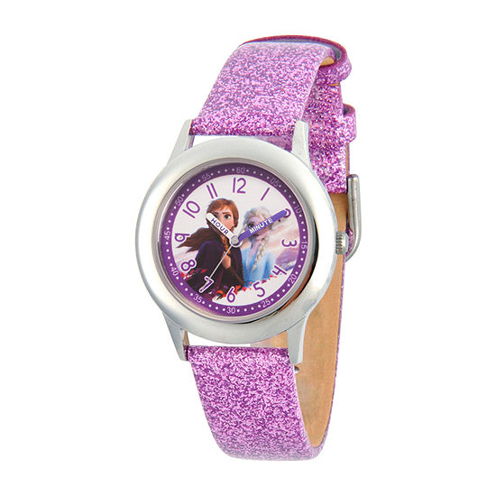 Disney Frozen Girls Purple Leather Strap Watch-Wds000797