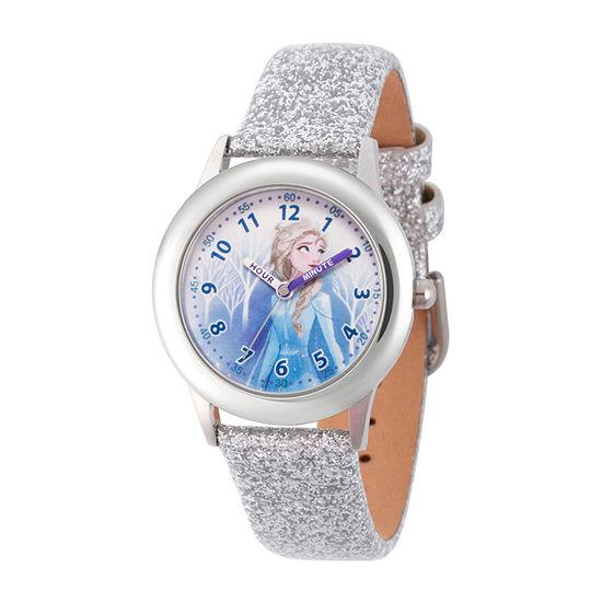 Disney Girls White Leather Strap Watch-Wds000798