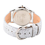 Disney Collection Girls White Leather Strap Watch-Wds000799