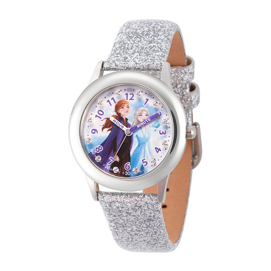 Disney Collection Frozen Girls White Leather Strap Watch-Wds000806