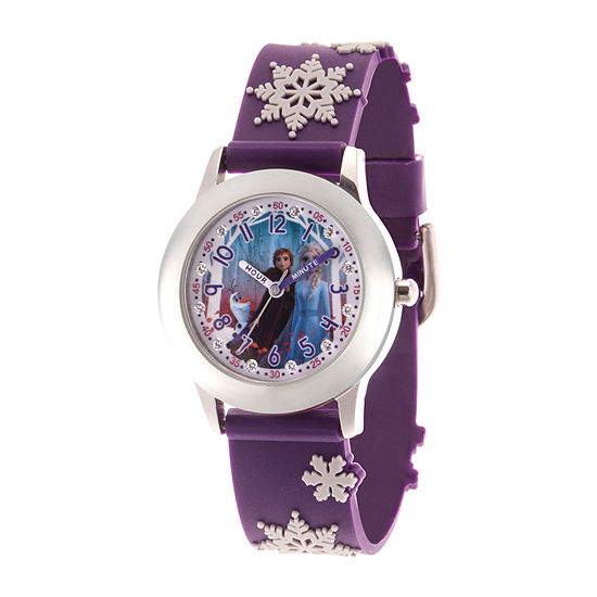 Disney Frozen Girls Purple Strap Watch-Wds000807