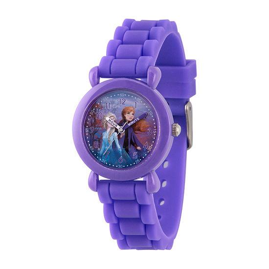Disney Frozen Girls Purple Strap Watch-Wds000811