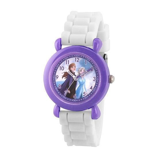 Disney Frozen Girls White Strap Watch-Wds000816